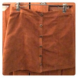 Brown suede high waisted mini skirt